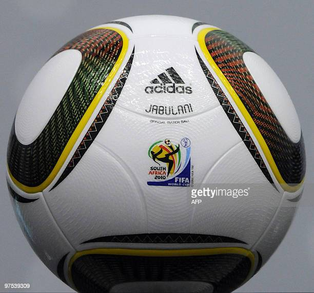 Jabulani the official balloon of the 2010 South Africa FIFA world cup is pictured during a press conference after the International Football...