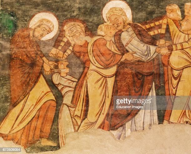 Jaca Huesca Province Aragon Spain Diocesan Museum of Jaca Museo Diocesano de Jaca The betrayal in the Garden of Gethsemane Judas kisses Jesus and...