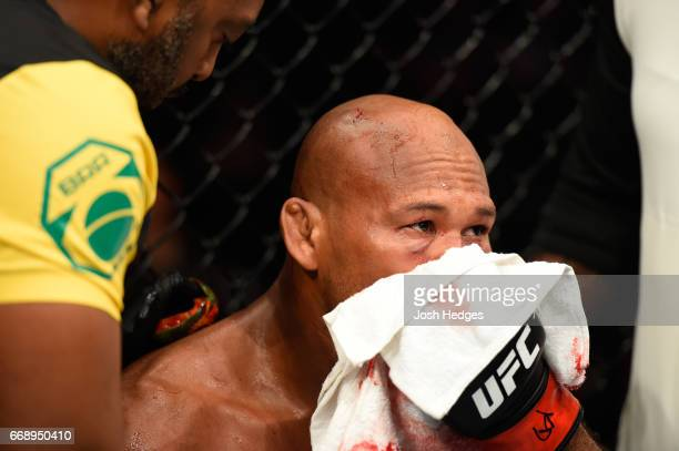Jacare Souza of Brazil reacts to his TKO loss to Robert Whittaker of New Zealand in their middleweight fight during the UFC Fight Night event at...