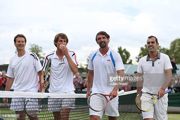 Jacco Eltingh of the Netherlands Paul Haarhuis of the Netherlands Goran Ivanisevic of Croatia and Cedric Pioline of France after their Gentlemen's...