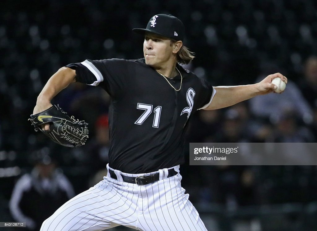 Jace Fry #71 of the Chicago White Sox pitches in the 9th inning in his Major League debut against the Cleveland Indians at Guaranteed Rate Field on September 5, 2017 in Chicago, Illinois. The Indians defeated the White Sox 9-4.