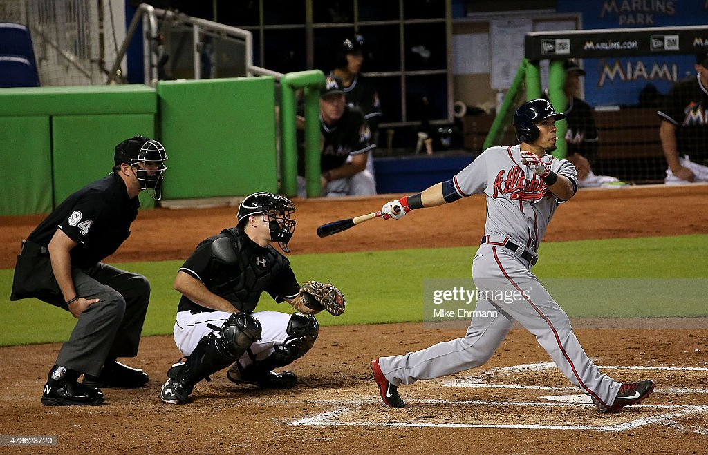 Jace Peterson of the Atlanta Braves hits a grand slam in the second inning during a game against the Miami Marlins at Marlins Park on May 16 2015 in...