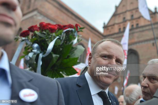 Jacek Kurski a General Director of the Polish public TV outside the parish church of the Gdansk Shipyards St Bridget church during the 37th...