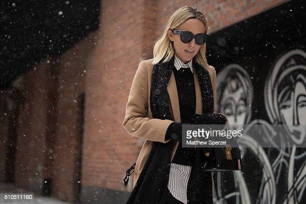 Jacey Duprie is seen outside the Thom Browne show during New York Fashion Week Women's Fall/Winter 2016 on February 15 2016 in New York City