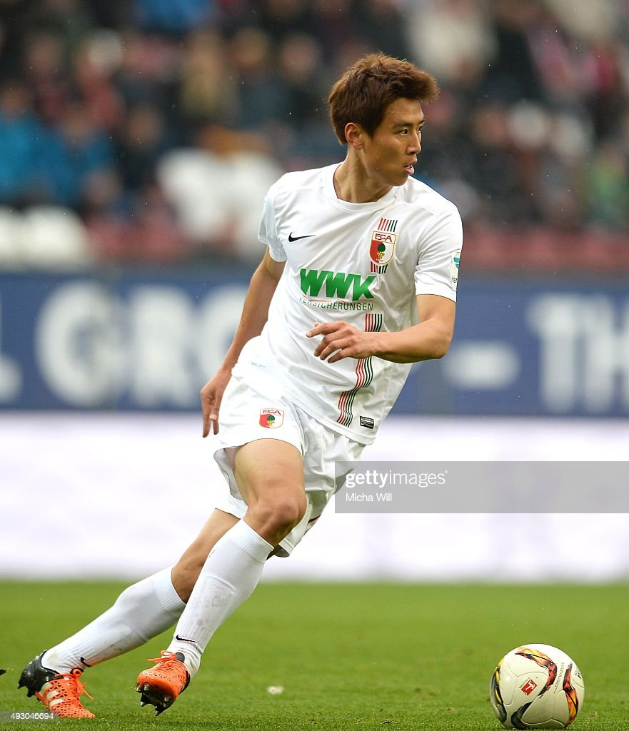 JaCheol Koo of Augsburg controls the ball during the Bundesliga match between FC Augsburg and SV Darmstadt 98 at WWK Arena on October 17 2015 in...