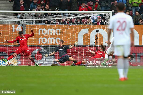 JaCheol Koo of Augsburg scores the 2nd team goal during the Bundesliga match between FC Augsburg and Bayer Leverkusen at WWK Arena on March 5 2016 in...