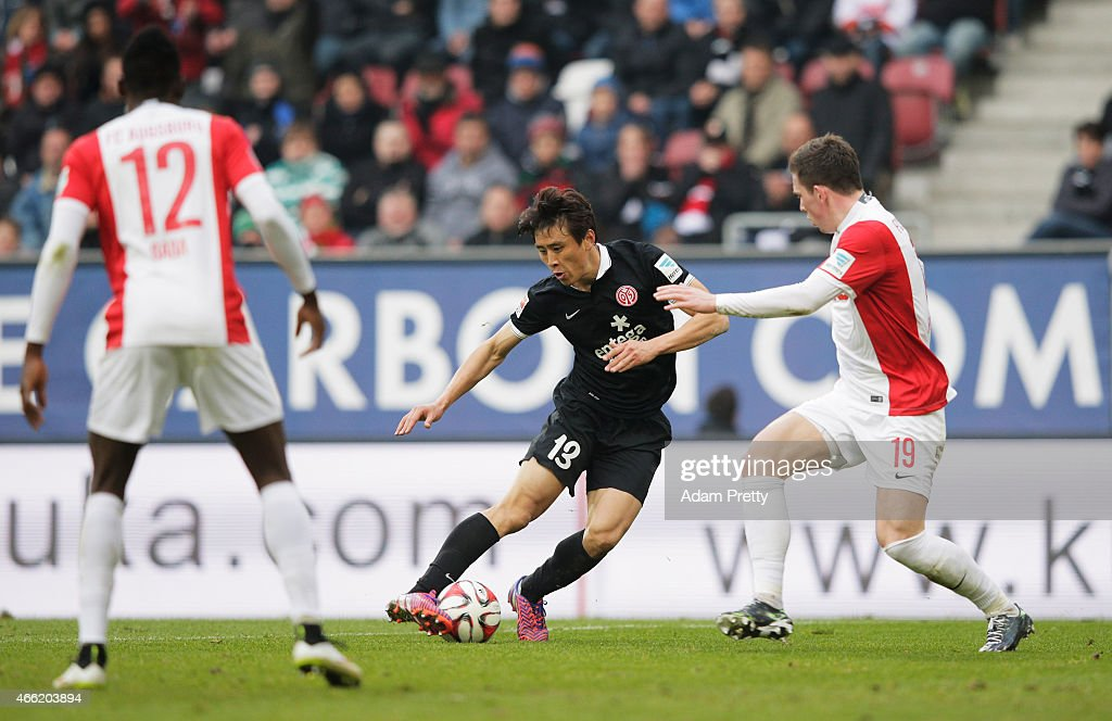 JaCheol Koo of FSV Mainz 05 scores the second goal during the Bundesliga match betwen FC Augsburg and FSV Mainz 05 at SGL Arena on March 14 2015 in...