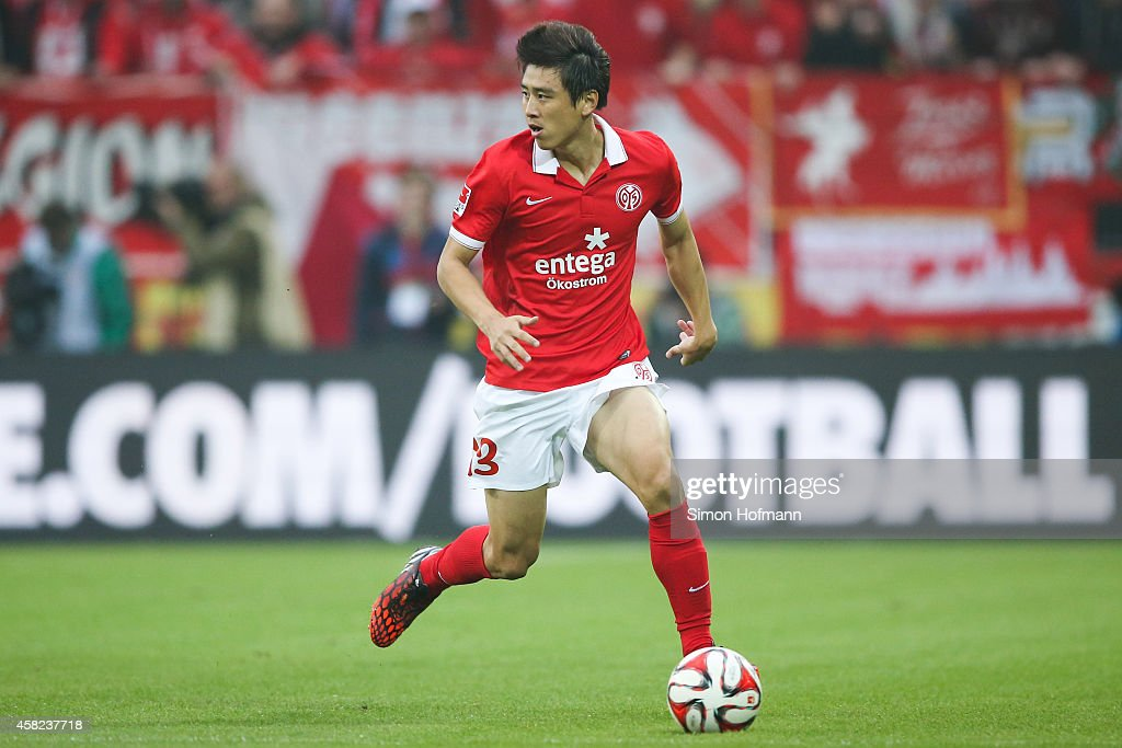 JaCheol Koo of Mainz controls the ball during the Bundesliga match between 1 FSV Mainz 05 and SV Werder Bremen at Coface Arena on November 1 2014 in...