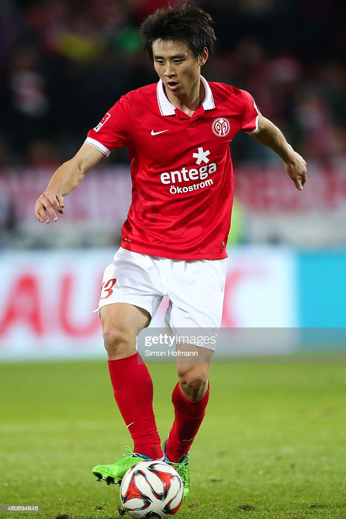 JaCheol Koo of Mainz controls the ball during the Bundesliga match between 1 FSV Mainz 05 and FC Bayern Muenchen at Coface Arena on December 19 2014...