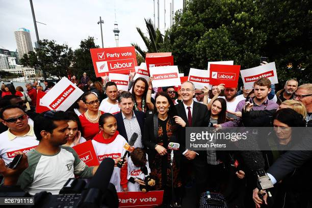 Jacinda Ardern announces Labour's Auckland Transport Plan on August 6 2017 in Auckland New Zealand Jacinda Ardern was elected unopposed as new Labour...
