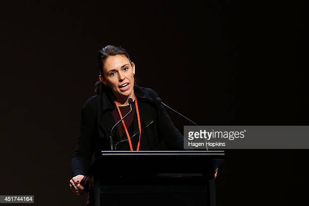Jacinda Ardern delivers a speech during Labour Party Congress 2014 at Michael Fowler Centre on July 6 2014 in Wellington New Zealand Labour's...