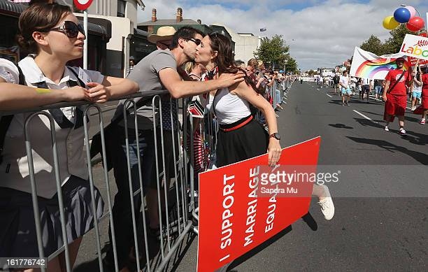 Jacinda Ardern Labour list MP participates in the parade down Ponsonby Road during the Pride parade on February 16 2013 in Auckland New Zealand The...