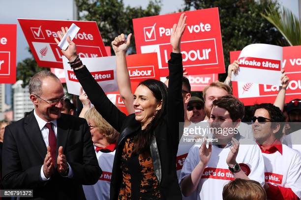 Jacinda Ardern thanks her supporters ahead of announcing Labour's Auckland Transport Plan on August 6 2017 in Auckland New Zealand Jacinda Ardern was...