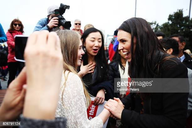 Jacinda Ardern thanks supporters after announcing Labour's Auckland Transport Plan on August 6 2017 in Auckland New Zealand Jacinda Ardern was...