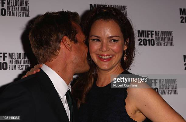 Jacinda Barrett arrives with her husband Gabriel Macht at the world premier of 'Matching Jack' during the Melbourne International Film Festival at...