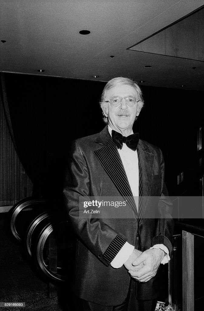 Jack Albertson wearing a tux with striped accents; circa 1970; New York.