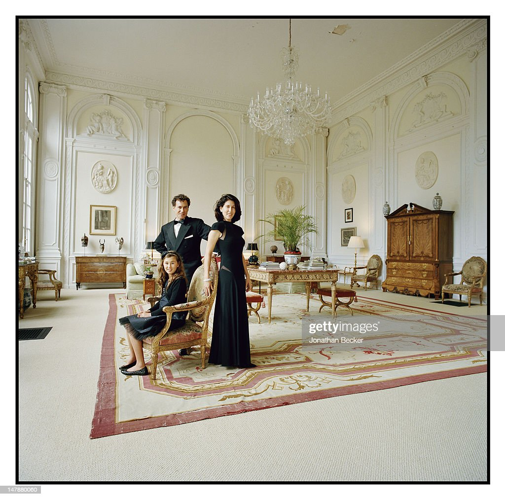 Jack and Kim Kilgore with their daughter India are photographed in the Ballroom for Town & Country Magazine on September 8, 2011 in Tuxedo Park, New York. PUBLISHED