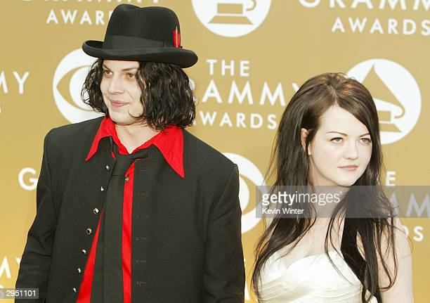 Jack and Meg White of the White Stripes arrive at the 46th Annual Grammy Awards held at the Staples Center on February 8 2004 in Los Angeles...