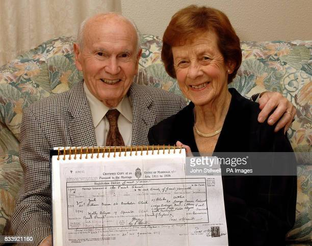 Jack and Molly Bacon from Gorleston near Great Yarmouth with their certificate of marriage dated November 20 the same day that Queen Elizabeth II...