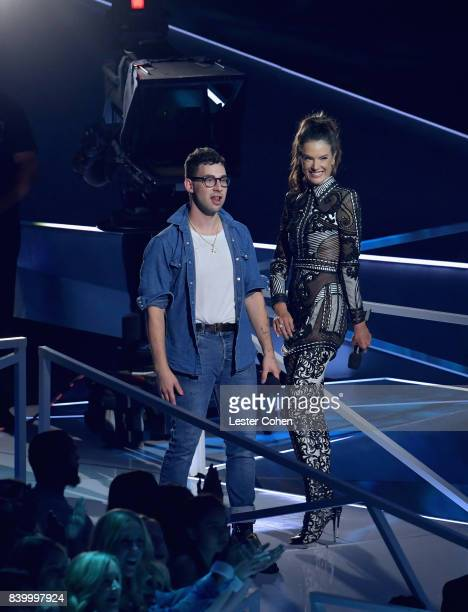 Jack Antonoff and Alessandra Ambrosio onstage during the 2017 MTV Video Music Awards at The Forum on August 27 2017 in Inglewood California