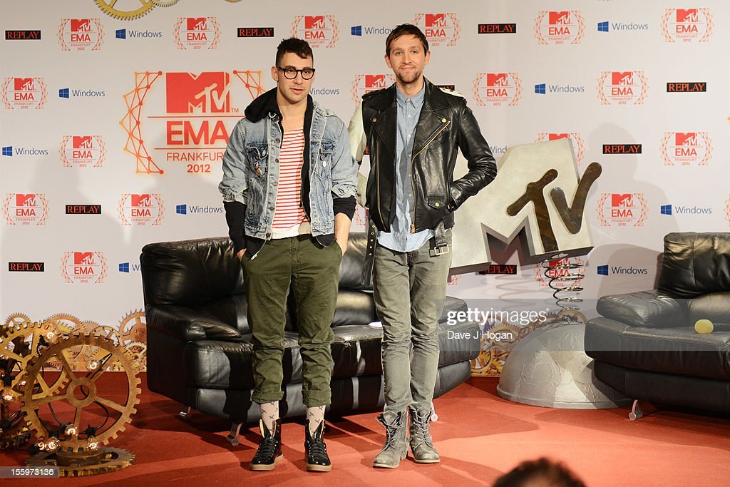 <a gi-track='captionPersonalityLinkClicked' href=/galleries/search?phrase=Jack+Antonoff&family=editorial&specificpeople=2565373 ng-click='$event.stopPropagation()'>Jack Antonoff</a> and <a gi-track='captionPersonalityLinkClicked' href=/galleries/search?phrase=Andrew+Dost&family=editorial&specificpeople=7336071 ng-click='$event.stopPropagation()'>Andrew Dost</a> of Fun attend the photocall ahead of the MTV EMA's 2012 at Frankfurt City Hall on November 10, 2012 in Frankfurt am Main, Germany.