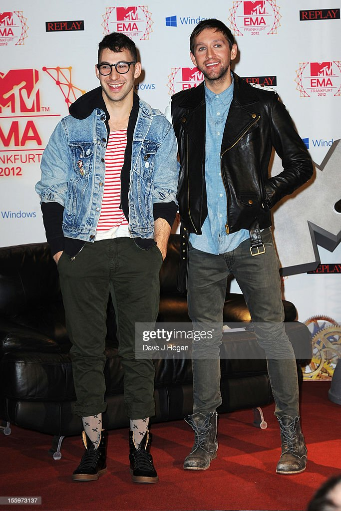 Jack Antonoff and Andrew Dost of Fun attend the photocall ahead of the MTV EMA's 2012 at Frankfurt City Hall on November 10, 2012 in Frankfurt am Main, Germany.