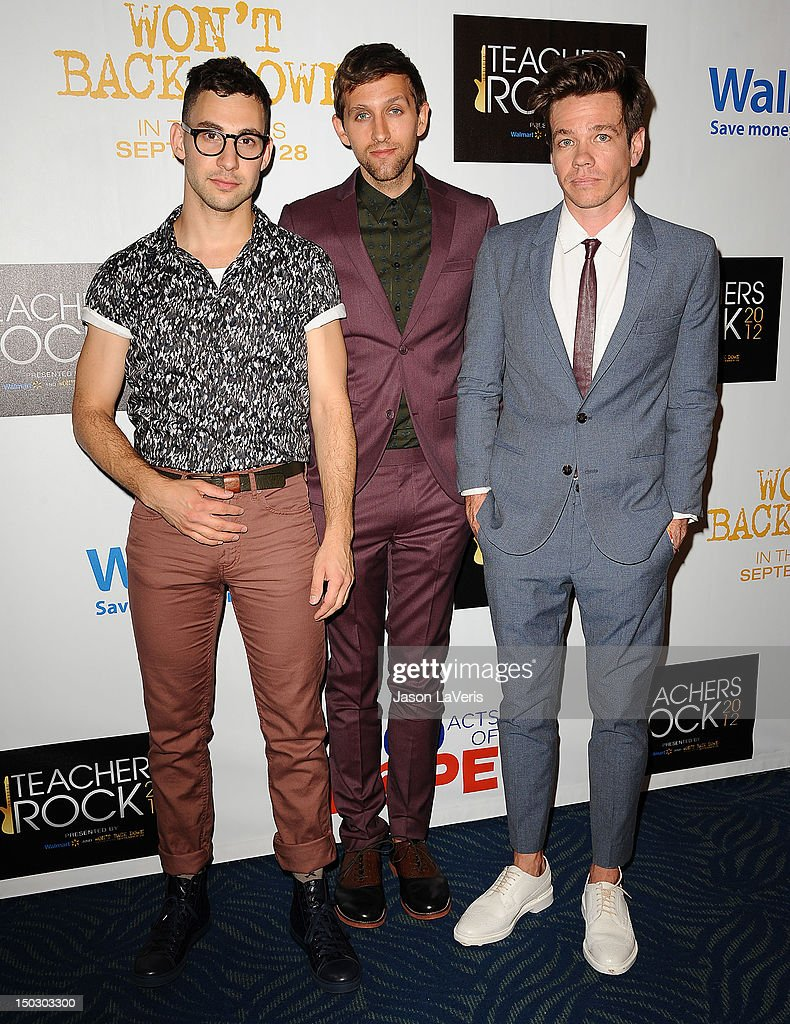 <a gi-track='captionPersonalityLinkClicked' href=/galleries/search?phrase=Jack+Antonoff&family=editorial&specificpeople=2565373 ng-click='$event.stopPropagation()'>Jack Antonoff</a>, <a gi-track='captionPersonalityLinkClicked' href=/galleries/search?phrase=Andrew+Dost&family=editorial&specificpeople=7336071 ng-click='$event.stopPropagation()'>Andrew Dost</a> and <a gi-track='captionPersonalityLinkClicked' href=/galleries/search?phrase=Nate+Ruess&family=editorial&specificpeople=6897270 ng-click='$event.stopPropagation()'>Nate Ruess</a> of the band fun. attend the 'Teachers Rock' benefit at Nokia Theatre L.A. Live on August 14, 2012 in Los Angeles, California.