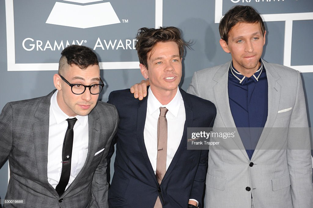Jack Antonoff, Nate Ruess and Andrew Dost from the band '<a gi-track='captionPersonalityLinkClicked' href=/galleries/search?phrase=Fun+-+Band&family=editorial&specificpeople=5352698 ng-click='$event.stopPropagation()'>Fun</a> arrive at the 55th Annual Grammy Awards held at the Staples Center in Los Angeles.