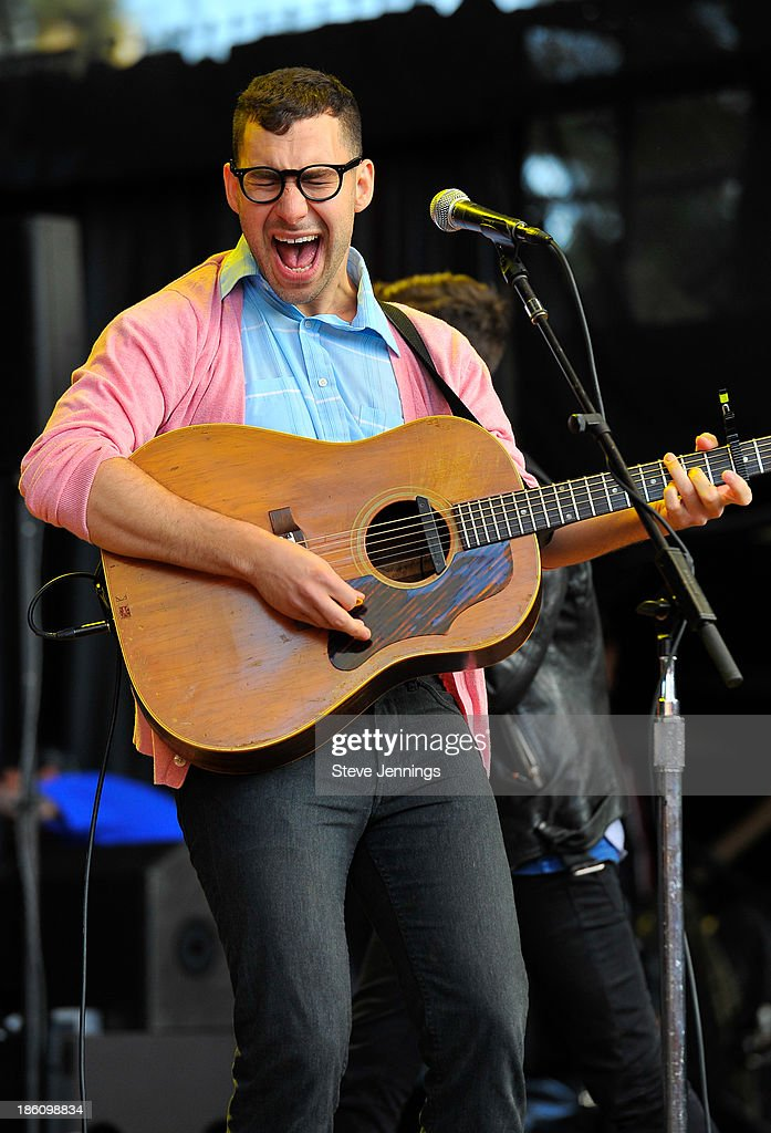 <a gi-track='captionPersonalityLinkClicked' href=/galleries/search?phrase=Jack+Antonoff&family=editorial&specificpeople=2565373 ng-click='$event.stopPropagation()'>Jack Antonoff</a> of FUN. performs on Day 2 of the 27th Annual Bridge School Benefit concert at Shoreline Amphitheatre on October 27, 2013 in Mountain View, California.
