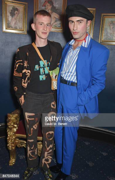 Jack Appleyard and Charles Jeffrey attend the iD x Jeremy Scott party presented by UGG at Cafe de Paris on September 14 2017 in London England
