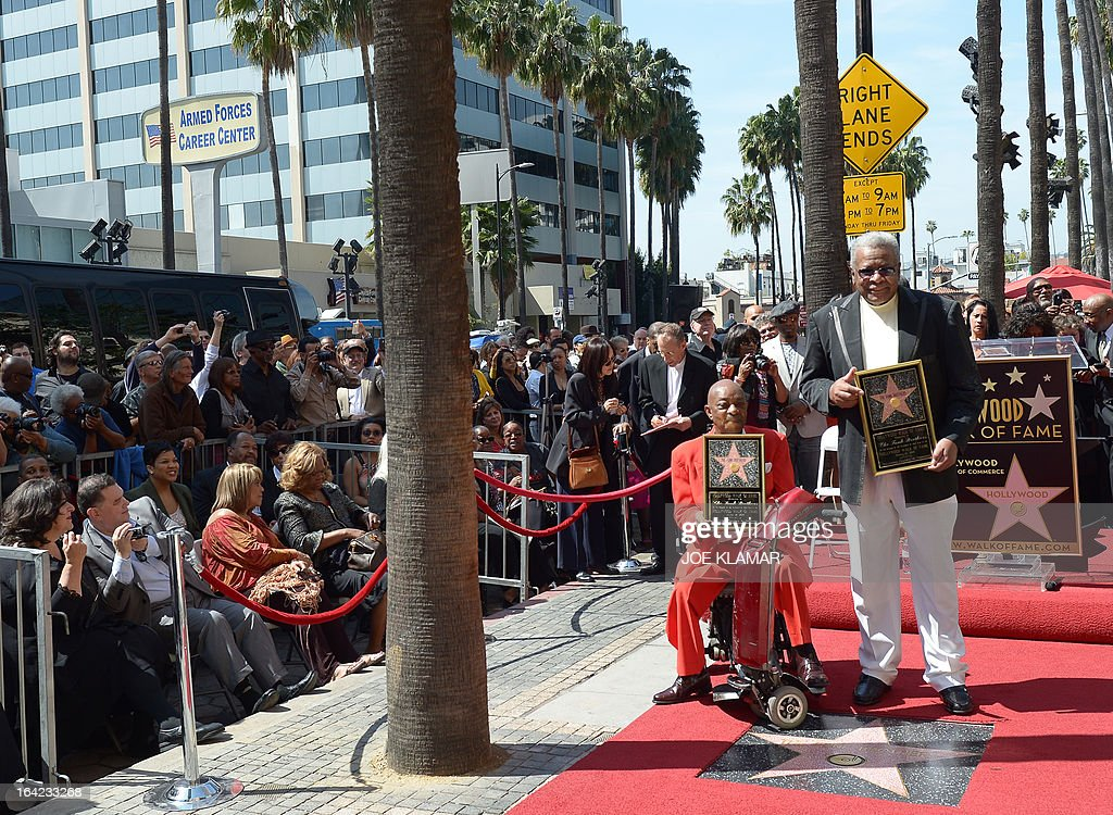 Jack Ashford (R) and Eddie Willis, surviving members of the Funk Brothers, attend a ceremony honoring the musicians with a star on the Hollywood Walk of Fame on March 21, 2013 in Hollywood, California.The Funk Brothers was the nickname of Detroit, Michigan, session musicians who performed the backing to most Motown recordings from 1959 until the company moved to Los Angeles in 1972.