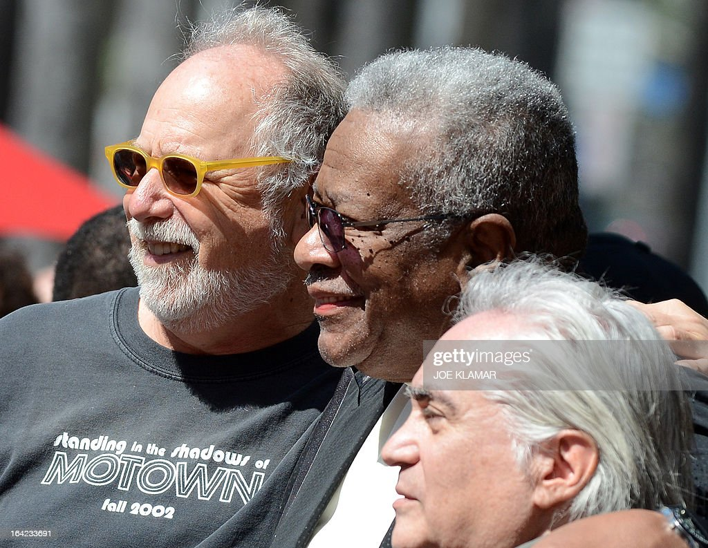 Jack Ashford (C), surviviing member of the Funk Brothers, poses with friends as he attends a ceremony honoring the musicians with a star on the Hollywood Walk of Fame on March 21, 2013 in Hollywood, California.The Funk Brothers was the nickname of Detroit, Michigan, session musicians who performed the backing to most Motown recordings from 1959 until the company moved to Los Angeles in 1972.
