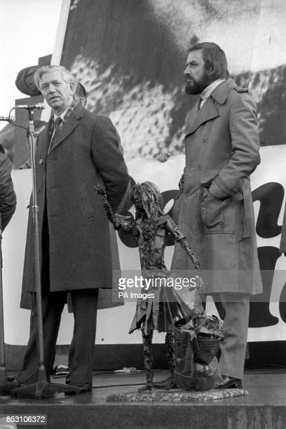 MP Jack Ashley and RK Beaumont secretary of the Maria Colwell Memorial Fund at the public meeting in Trafalgar Square London during Maria Colwell Day...