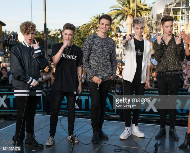 Jack Avery Zach Herron Jonah Marais Corbyn Besson and Daniel Seavey of Why Don't We visit 'Extra' at Universal Studios Hollywood on November 14 2017...