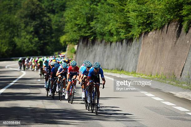 Jack Bauer of New Zealand and Garmin Sharp leads the bunch during the eleventh stage of the 2014 Tour de France a 188km stage between Besancon and...