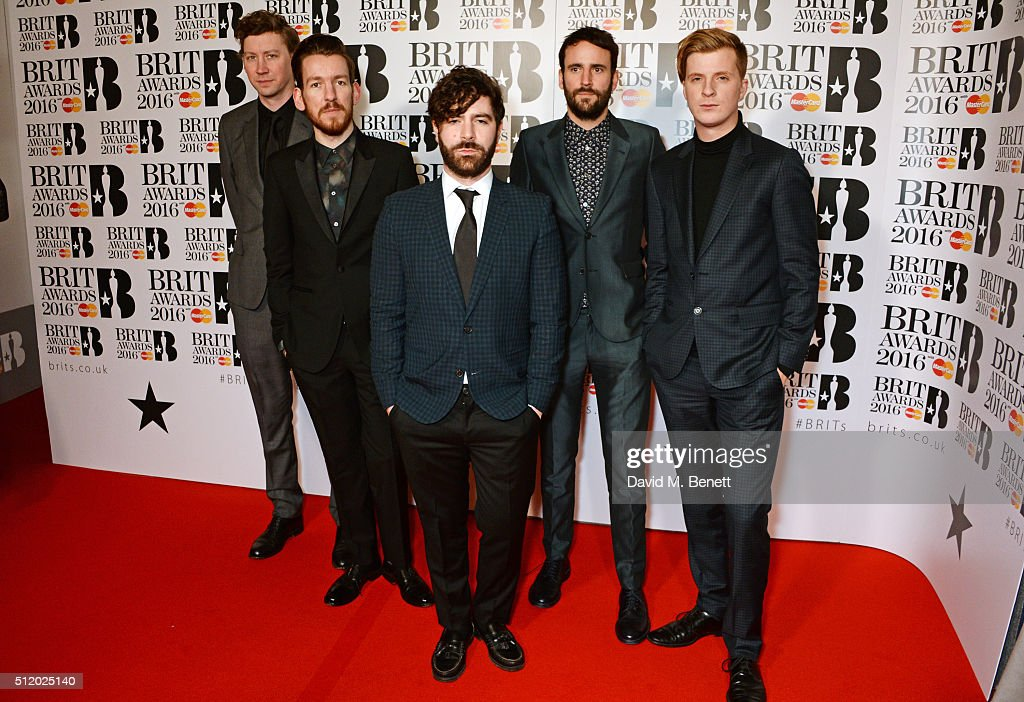 Jack Bevan Edwin Congreave Yannis Philippakis Jimmy Smith and Walter Gervers of Foals arrives the BRIT Awards 2016 at The O2 Arena on February 24...