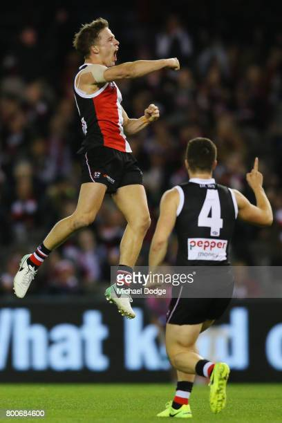 Jack Billings of the Saints celebrates a goal during the round 14 AFL match between the St Kilda Saints and the Gold Coast Suns at Etihad Stadium on...