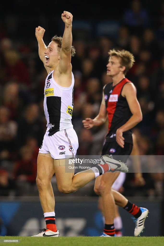Jack Billings of the Saints celebrates winning the round five AFL match between the Essendon Bombers and the St Kilda Saints at Etihad Stadium on April 19, 2014 in Melbourne, Australia.