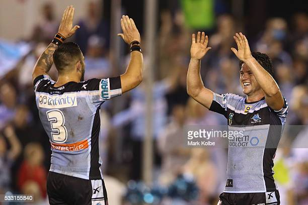 Jack Bird and Chad Townsend of the Sharks celebrate victory during the round 11 NRL match between the Cronulla Sharks and the Manly Sea Eagles at...