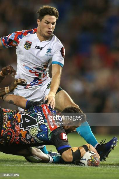 Jack Bird of the indigenous All Stars scores a try during the NRL All Stars match between the 2017 Harvey Norman All Stars and the NRL World All...