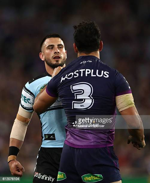 Jack Bird of the Sharks and William Chambers of the Storm during the 2016 NRL Grand Final match between the Cronulla Sharks and the Melbourne Storm...