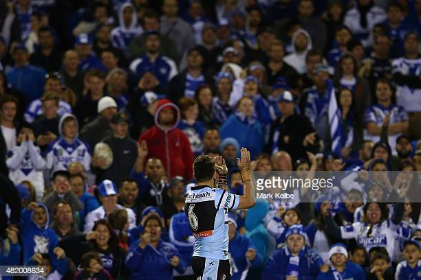 Jack Bird of the Sharks applauds the crowd after victory during the round 20 NRL match between the Canterbury Bulldogs and the Cronulla Sharks at...