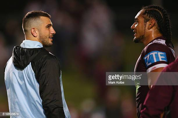 Jack Bird of the Sharks speaks to Martin Taupau of the Eagles after the round three NRL match between the Manly Sea Eagles and the Cronulla Sharks at...