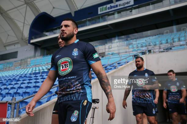 Jack Bird walks out for the New South Wales Blues State of Origin captain's run at Cbus Super Stadium on May 30 2017 in Gold Coast Australia