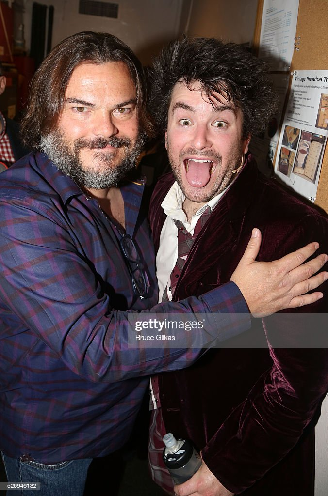 Jack Black (who played 'Dewey Finn' in the movie) and Alex Brightman (who plays 'Dewey Finn' onstage) pose backstage at the hit musical based on the film starring Jack Black 'School of Rock' on Broadway at The Winter Garden Theatre on May 1, 2016 in New York City.