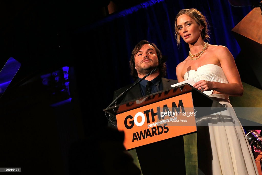 Jack Black and Emily Blunt speak onstage at the IFP's 22nd Annual Gotham Independent Film Awards at Cipriani Wall Street on November 26, 2012 in New York City.