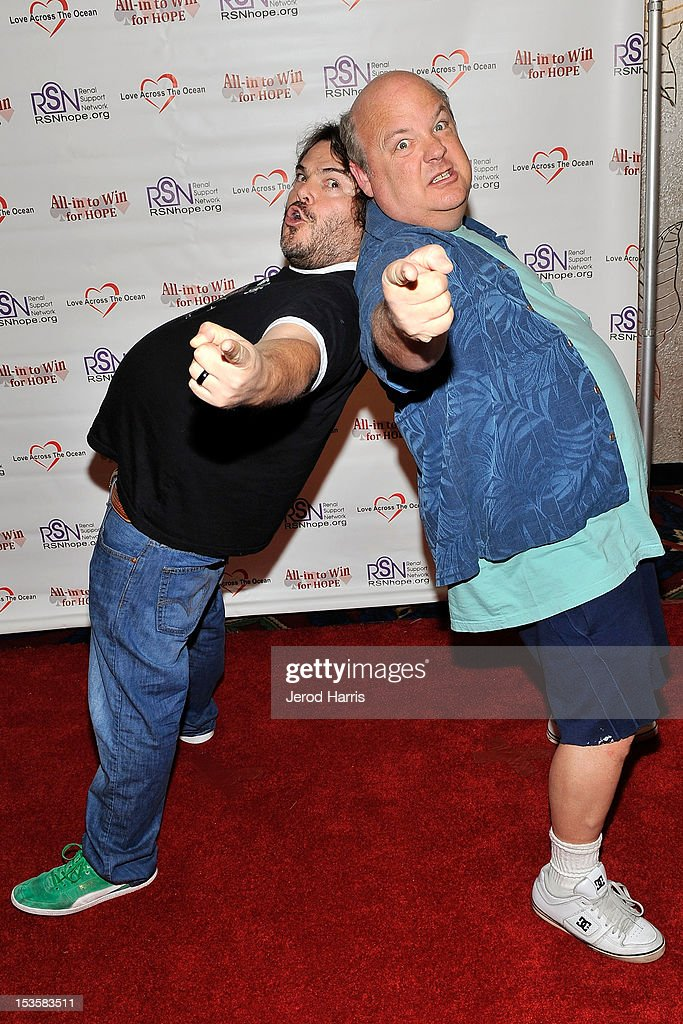 <a gi-track='captionPersonalityLinkClicked' href=/galleries/search?phrase=Jack+Black&family=editorial&specificpeople=171453 ng-click='$event.stopPropagation()'>Jack Black</a> and <a gi-track='captionPersonalityLinkClicked' href=/galleries/search?phrase=Kyle+Gass&family=editorial&specificpeople=171597 ng-click='$event.stopPropagation()'>Kyle Gass</a> arrive at 'In To Win For Hope' No Limit Texas Hold'em Celebrity Charity Poker Tournament at Commerce Casino on October 6, 2012 in City of Commerce, California.