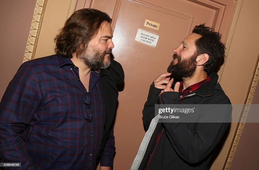 Jack Black and Paul Rudd pose backstage at the hit musical based on the film starring Jack Black 'School of Rock' on Broadway at The Winter Garden Theatre on May 1, 2016 in New York City.