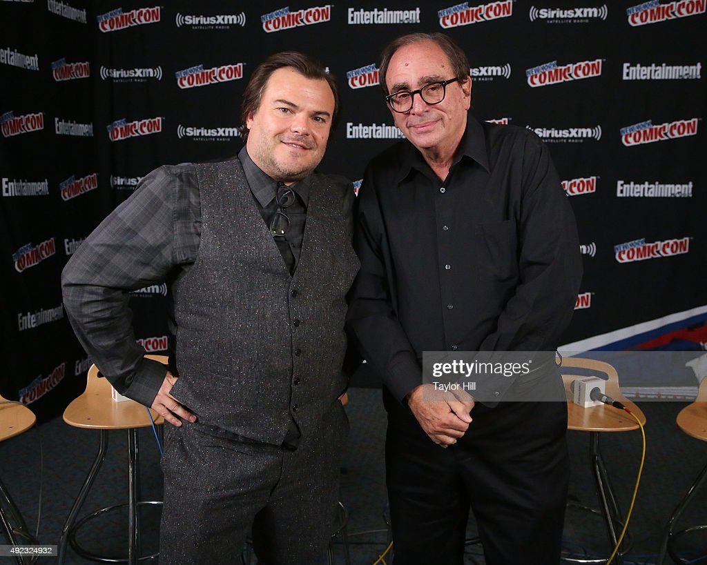 Jack Black and R.L. Stine visit the SiriusXM Studios during New York Comic-Con at The Jacob K. Javits Convention Center on October 11, 2015 in New York City.