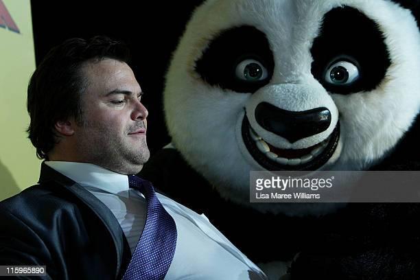 Jack Black arrives at the Australian premiere of 'Kung Fu Panda 2' at Event Cinema on George Street on June 13 2011 in Sydney Australia